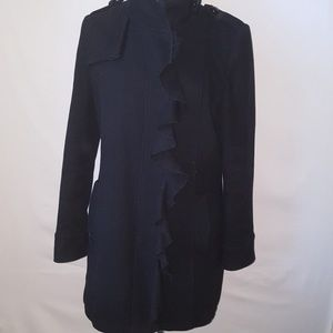 TAHARI Black Wool Blend Ruffle Trench Coat SZ 8